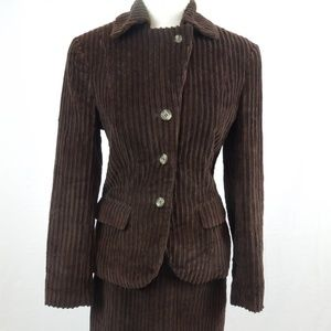Vintage 90s Corduroy Skirt Suit Brown Blazer